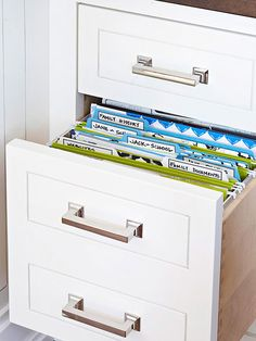 Overstuffed Files: divide the drawer into 4 color-coded sections: financial (green); insurance/vehicles (blue); personal (yellow); and home (red).