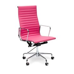 Pink Ribbed Office Chair