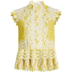 Erdem Sam degradé guipure-lace blouse (€605) ❤ liked on Polyvore featuring tops, blouses, yellow white, yellow ruffle blouse, lace top, white ruffle top, lace blouse and white ruffle blouse