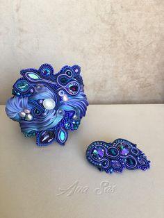 Blauwe Swarovski soutache en shibori zijde armband