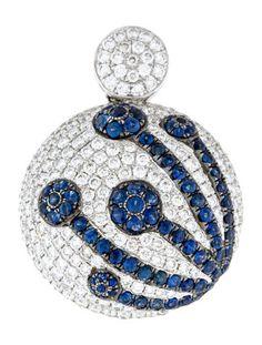 18K Blue Sapphire & Diamond Pendant