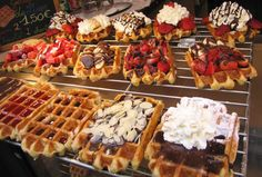 """Belgian Waffles from Brussels. """"Might be best thing I've ever eaten, and I'm not a waffle person. Dutch Waffles, Yummy Waffles, Belgian Waffles, Waffle Shop, Waffle Bar, Fun Desserts, Delicious Desserts, Yummy Food, Waffle Desserts"""