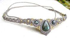 Macrame Tiara or Necklace Labradorite  Collier