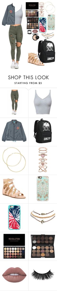 """Cute school outfit"" by merideanem ❤ liked on Polyvore featuring ODD FUTURE, Accessorize, Ivanka Trump, Casetify, Wet Seal, Lime Crime and MAC Cosmetics"