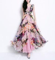 Spring summer chiffon long dress lady women clothing by handok, $93.00 - beautiful dresses w/ flirty skirts!