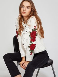SHEIN Flower Patch Topstitch Detail Frayed Jacket Autumn White Single Breasted Lapel Long Sleeve Women Coats and Jackets Roxy, Coats For Women, Clothes For Women, Zara, Flower Patch, Embroidered Jacket, Roll Up Sleeves, Lauren, Smock Dress