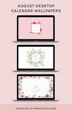 August floral desktop wallpaperHere are three monthly calendar wallpapers to match my phone wallpapers! I've created a version starting Monday and Sunday so you can download which suits you best -...