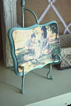 Mod Podge Photo...Hobby Lobby wood frame $2.99, paint, modge podge, paint brush, fave photo.... Love it! like how the picture is almost as big as the frame.  be cute to dress up and take pictures in the woods @ new house of me and do this to put in room. by SAburns