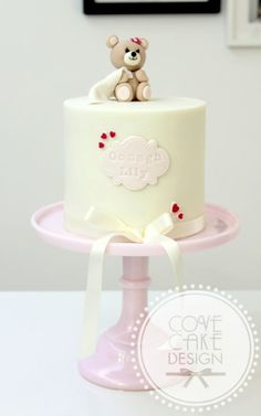 Round white with pink, teddy and hearts baby cake