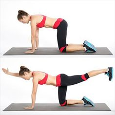 How to get toned abs in 2 weeks? Practice bird dog exercise for abs. Abs workout challenge for fitness lover. Flat Abs Workout, Ab Workouts, Fitness Workouts, Fitness Motivation, Girl Workout, Dog Workout, Workout Circuit, Quick Workouts, Tummy Workout