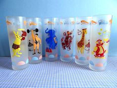 Vintage Libbey Circus Tall Frosted Glasses by TimelessTreasuresbyM