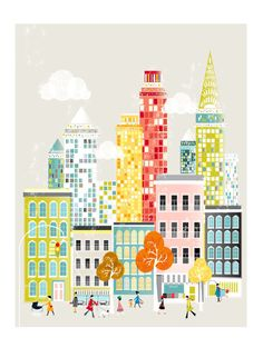{Retro American Cityscape} I've seen several pinners talking about how great these prints are -- I think we need one now