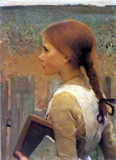 George Clausen A School Girl, oil on canvas, 56 x cm, private collection. This could be Anne of Green Gables! Art And Illustration, Dante Gabriel Rossetti, Gustav Klimt, John Everett Millais, John William Waterhouse, English Artists, Portraits, Portrait Art, Anne Of Green Gables