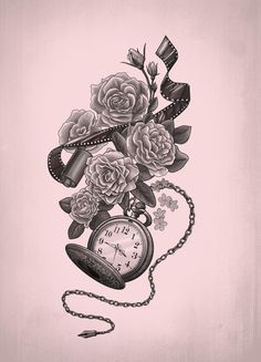 flower and pocket watch tattoo - Google Search