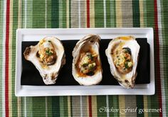 Grilled oysters with crawfish butter. I need to get myself invited to dinner at Dussert OBoyle 's house. Grilled Oysters, Oyster Recipes, Seafood, Grilling, Addiction, Appetizers, Butter, Dinner, Cooking