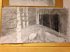 Mv-kopio kultakauden maalauksesta (oppilas valitsi itseään puhuttelevan teoksen), jatka kuvaa piirtämällä, mieti mitä taiteilija on rajannut kuvasta pois, 5.-6.lk.