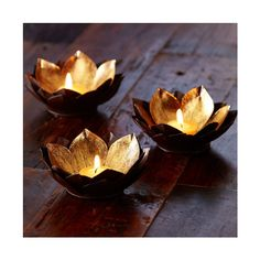 Gold Leaf Lotus Flower Votives | VivaTerra (£23) ❤ liked on Polyvore featuring home, home decor, candles & candleholders, lotus flower home decor and lotus home decor