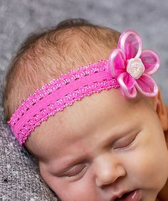 Look at this Bits N Baubles BeBe Pink Ruffly Lace Headband on #zulily today!