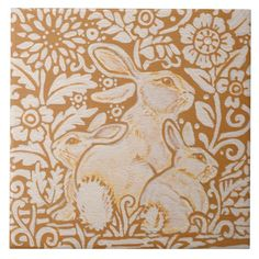 "Rabbit & Babies Floral Ceramic 6"" Tile Trivet Art"