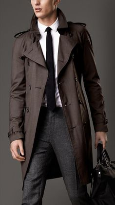 Trench-coat mi-long en soie et laine | Burberry