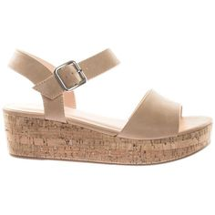 Orchis by City Classified Retro Cork Flat Platform Flatform Sandal w... ($28) ❤ liked on Polyvore featuring shoes, sandals, strappy sandals, flatform sandals, platform sandals, flat t-strap sandals and ankle wrap flat sandals