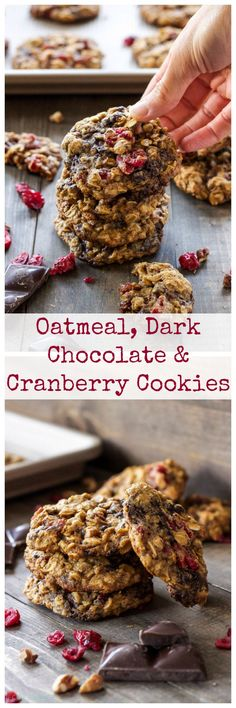 Oatmeal, Dark Chocolate and Cranberry Cookies | Crisp on the outside, soft and chewy on the inside! Oatmeal cookie perfection!
