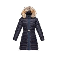 Kids Moncler Navy Nantesfur Fur Hood Down Quilted Coats