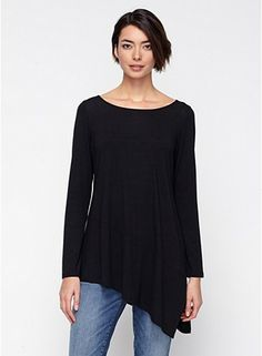 Eileen Fisher:  Bateau Neck Tunic in Lightweight Viscose Jersey