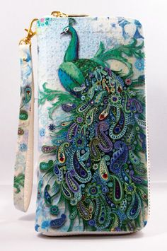 Handmade Decoupage Paisley Peacock Woman Zip by SukSomboonShop, $21.00