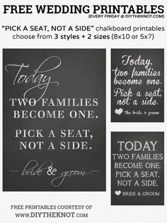 FREE Pick A Seat, Not A Side Printable Chalkboard Wedding Signs #wedding #free #printable