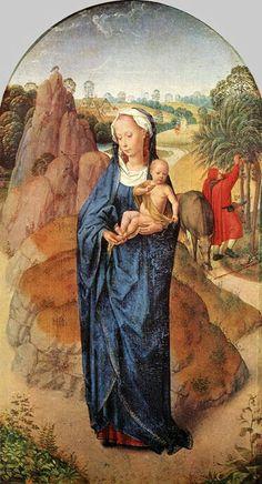 Ганс Мемлинг  Мадонна с младенцем в пейзаже Эта ранняя работа художника, вероятно, представляет сцену отдыха во время полета в Египет.
