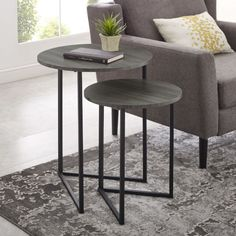 Point your style in the right direction with these V-leg nesting side tables. The dynamic metal legs are made of powder coated metal while the table top is constructed out of warp-resistant MDF and finished with a high-quality laminate. Glam design g Large Table, Small Tables, Side Tables, Round End Tables, Small Space Living, Living Spaces, Living Rooms, Table Furniture, Living Room Furniture