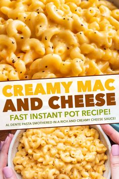 This Instant Pot Mac and Cheese is ultra creamy and rich with a velvety smooth sauce! Ready in about 20 minutes, it's perfect for a busy night and always a family favorite! Cheesy Mac And Cheese, Creamy Macaroni And Cheese, Beef Mac And Cheese, Dinner Recipes Easy Quick, Instant Pot Dinner Recipes, Easy Dinners, Instant Pot Mac And Cheese Recipe, Crockpot Recipes, Cooking Recipes