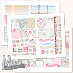 Donut party planner stickers,printable stickers,Erin Condren size stickers,weekly sticker set,Doughnut day stickers,cut lines included