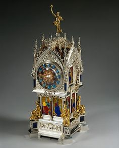Ornate Victorian French Clock, 1881. Designer of case and enamel: Lucien Falize  (French, Paris 1839–1897 Paris). Silver, gold, semi-precious stones, amethysts, enamel, diamonds.