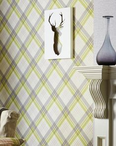 A diagonal plaid pattern for fans of straight lines - classic stripes in cream-white, yellow-green, light grey and pink create the stylish appearan. Geometric Wallpaper, Wallpaper S, Pattern Wallpaper, Tartan Pattern, Basic Colors, Vinyl, Inspiration, Design, Wall Papers