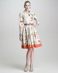 Oscar de la Renta Floral-Print Faille Shirtdress.jpg