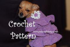 Instant Download Crochet Pattern- Ruffles Dog Sweater Dress - Small Dog Sweater 2-20 lbs