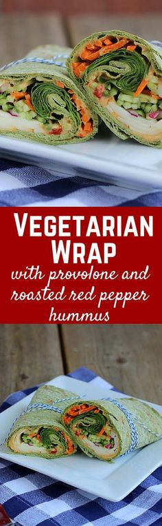 Vegetarian Wrap with Provolone and Roasted Red Pepper Hummus - get the easy lunch recipe onVegetarian Wrap with Provolone and Roasted Red Pepper Hummus - get the easy lunch recipe onRachelCooks!