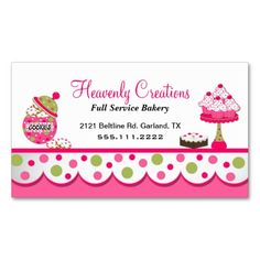Cute Pink and Green Bakery Business Card. I love this design! It is available for customization or ready to buy as is. All you need is to add your business info to this template then place the order. It will ship within 24 hours. Just click the image to make your own!