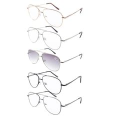 R1502 5-pack Mix Metal Frame Spring Hinge Reading Glasses Include Reading Sunglasses+1.0/1.25/1.50/1.75/2.0/2.25/2.5/2.75/3.0