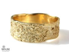 18k wedding band Rustic 14k yellow gold ring wide by DINARjewelry