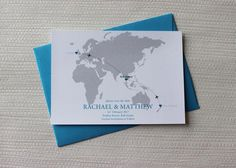 World Map Save the Date for a destination wedding