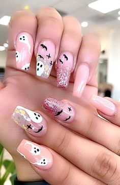 Cute Halloween Nails, Halloween Acrylic Nails, Halloween Nail Designs, Best Acrylic Nails, Pink Halloween, Cute Acrylic Nail Designs, Nail Art Designs, Cute Simple Nail Designs, Nails Design