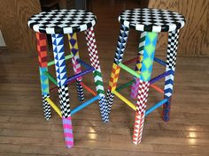 Whimsical Painted Furniture, Eclectic Furniture, Hand Painted Furniture, Furniture Ideas, Paint Furniture, Handmade Furniture, Upcycled Furniture, Hand Painted Stools, Painted Chairs