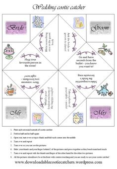 Here's my take on a popular cootie catcher theme - the wedding. I'm imagining guests whiling away the time between the buffet and the first dance with these, hence the challenges inside! Wedding Table, Fall Wedding, Wedding Reception, Our Wedding, Dream Wedding, Rustic Wedding, Wedding Activities, Wedding Games, Wedding Favours