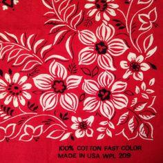 Vintage floral bandana Fast Color workwear western red rockabilly pinup style #WesternBandana