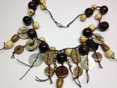 Wood Bead and string necklace by BornAgainButtons on Etsy, $20.00