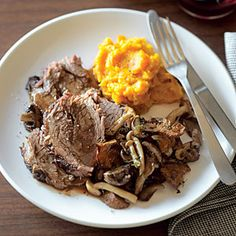 Our Best Pot Roast Recipes  | Pot Roast with Wild Mushrooms and Fresh Thyme | MyRecipes.com