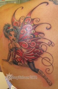 pretty fairy. Holy crap that's my tattoo except my wings are mostly blue not red!